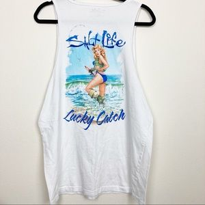 Salt Life Lucky Catch babe white cotton tank top